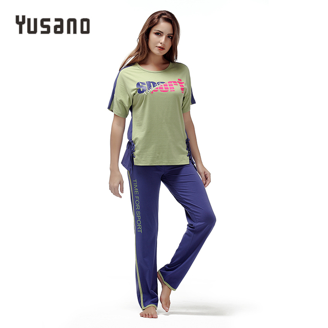 Yusano 2018 Women Pajamas O neck Short Sleeve Nightwear Comfortable Soft Cotton Side Bandage Print Sleepwear Girl Home Clothing