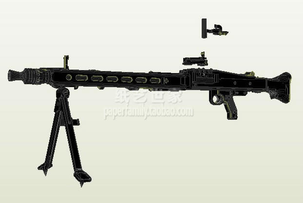 Paper Model Scale 1 1 WWII Firearms MG42 Heavy Machine Gun Assault Rifle Weapon Models Paper