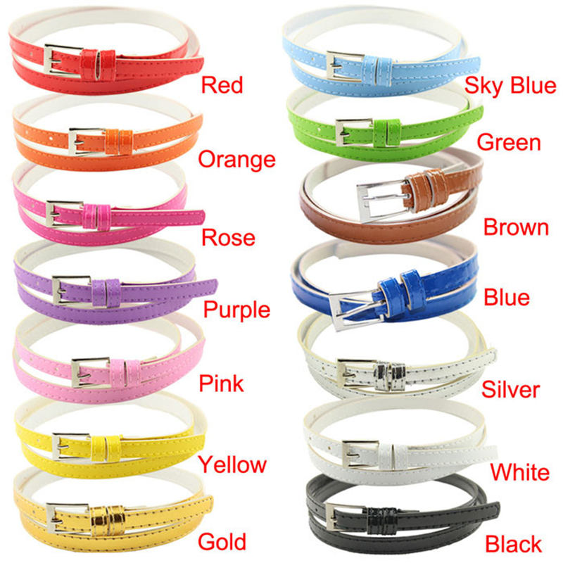 2019 Hot Beautiful Woman Multicolor Small Candy Color Thin Leather   Belt   Ms   Belt   leather   belts   for women 40FE01