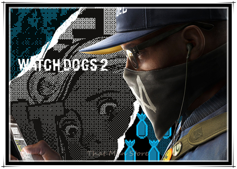 US $1 76 37% OFF|Art Painting Game Watch Dogs 2 Abstrac HD Printed Home  Decor Poster Wall Pictures for Living Room 42*30cm-in Wall Stickers from  Home