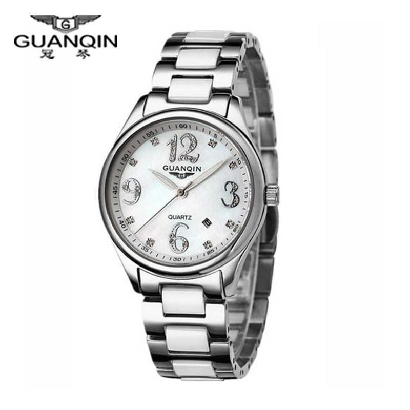 オリジナル Guanqin 腕時計女性ファッションセラミック鋼 (GQ90009) サファイア防水女性の腕時計ファッション腕時計ダイヤモンドの腕時計女性