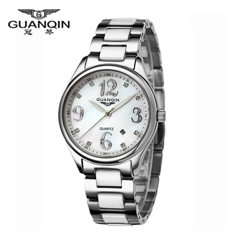 Original GUANQIN Watches women Fashion ceramic Steel (GQ90009) Sapphire Waterproof Lady watch fashion watch diamond Watch women fashion quicksand artificial diamond women watch