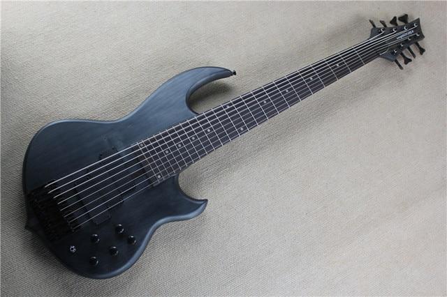 Factory Custom 24 frets 8 strings black neck thru body Electric Bass ...