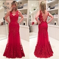 Impressionante V Neck Lace Red Trumpet Mãe do Vestido Da Noiva com Illusion Lace Voltar Até O Chão Formal Vestido de Festa Plus Size