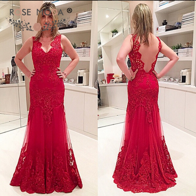 Stunning Mother Of The Bride Dresses: Stunning V Neck Red Lace Trumpet Mother Of The Bride Dress