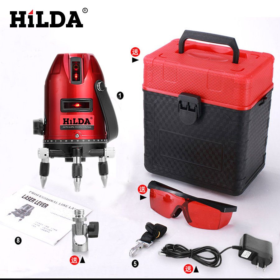 ФОТО HILDA 5 Lines 6 Points Laser Level 360 Rotary Cross Laser Line Laser Levels Red beam
