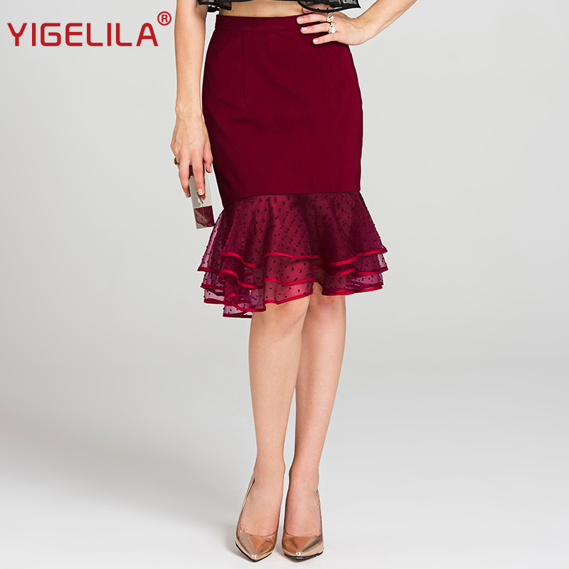 Roja De La Longitud Lápiz Malla Moda Rojo 2019 Imperio Falda Rodilla Volantes Mujeres 5460 Yigelila Slim Las Último Verano pFtxWw6q
