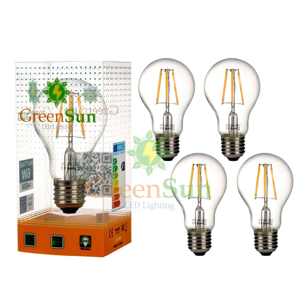 4Pcs Warm White E27 6W COB Globe LED Edison Filament Energy Saving Bulb Light Lamp 4pcs e27 4w warm white cob led filament globe energy saving bulb light xmas lamp