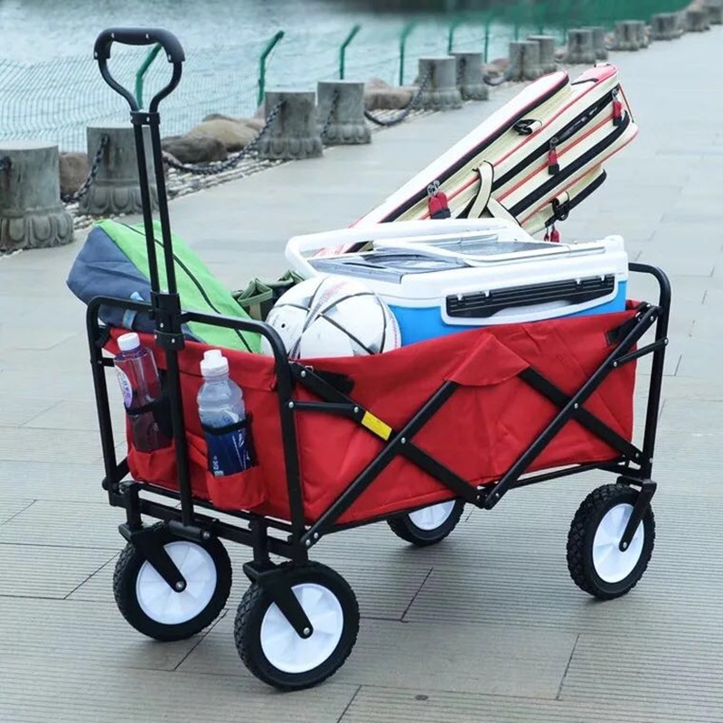 Portable Shopping Cart Baby Carriage Folding Bed Camping Carrying Luggage Outdoor Fishing Cart Universal Wheel Handling Trolley