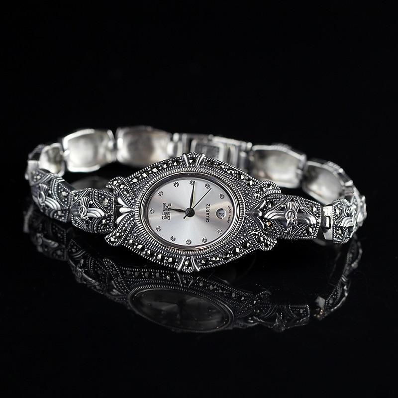 все цены на S925 sterling silver jewelry Thailand Seiko craft Thai silver lady Bracelet Watch