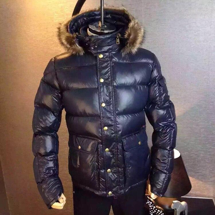 winter duck down jacket fur hooded parka men anorak doudoune homme hiver marque piumino uomo inverno - Doudoune Colore