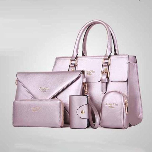 5 Bags Per Set Women Handbags Pu Leather Messenger Bag Business Tote