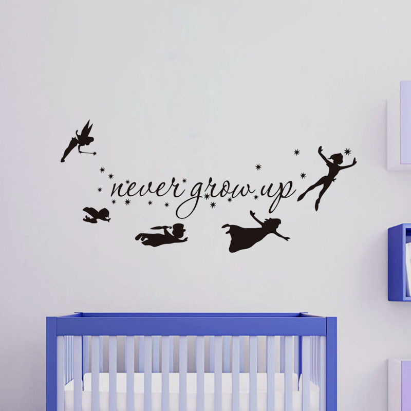 DCTOP Never Grow Up Children Flying Silhouette Fantasy Fairytale Vinyl Wall Sticker Bedroom Baby Kids Playroom Home Decor In Stickers From