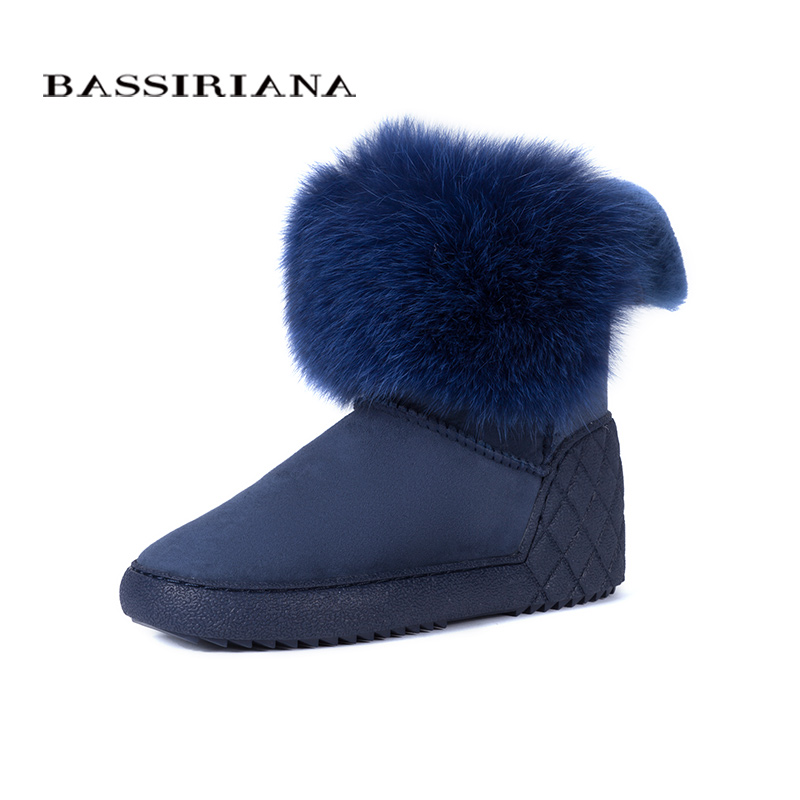 BASSIRIANA New 2017 genuine sheepskin suede warm winter ankle snow boots shoes woman increase insole fur round toe 36-40 size