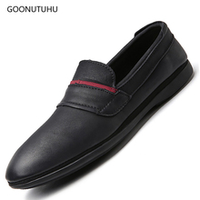 2019 new fashion men's shoes casual genuine leather slip-on loafers breathable black shoe man youth trend driving shoes for men цена