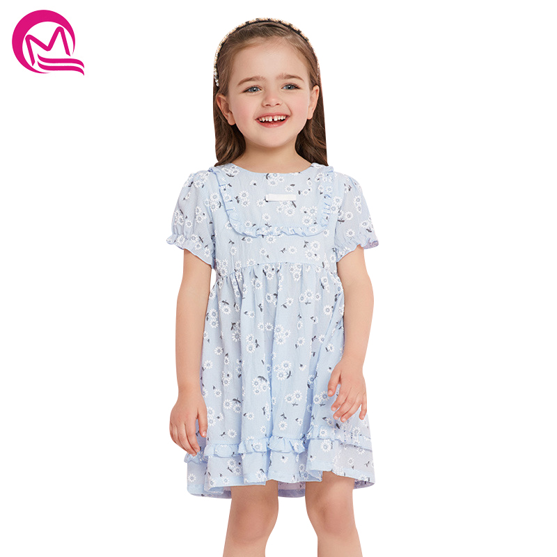 Girls Kids Dress 2018 New Fashion Spring Summer Casual Floral Dresses For Girl Birthday Party Print Puff Dress Princess Clothing floral print puff sleeve fit
