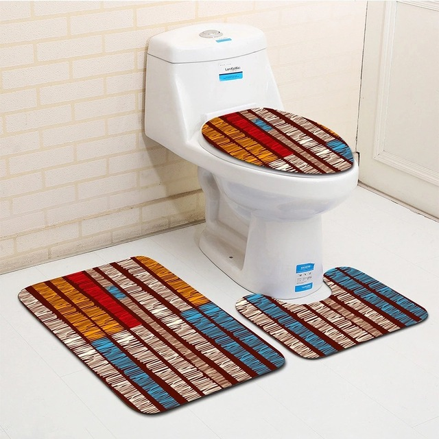 3pcs Colorful Geometric Pattern Bath Toilet Mat Sets Bathroom Rug Flannel Soft And Comfortable Carpet