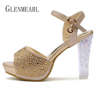 2015 Summer New High Heels Sandals Women Shoes Crystal Platform Fish Head Blue Gold Silver Diamond