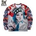 New arrivals Men 3d sweatshirts print Beijing opera Theater actors crying Tattoo lady hoodies pullovers