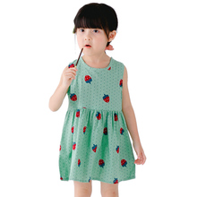2017 Baby Girls Clothes Summer Dresses Cotton Printed Sleeveless Princess Soft Cute Dress Girl Casual Outdoor Clothes Set