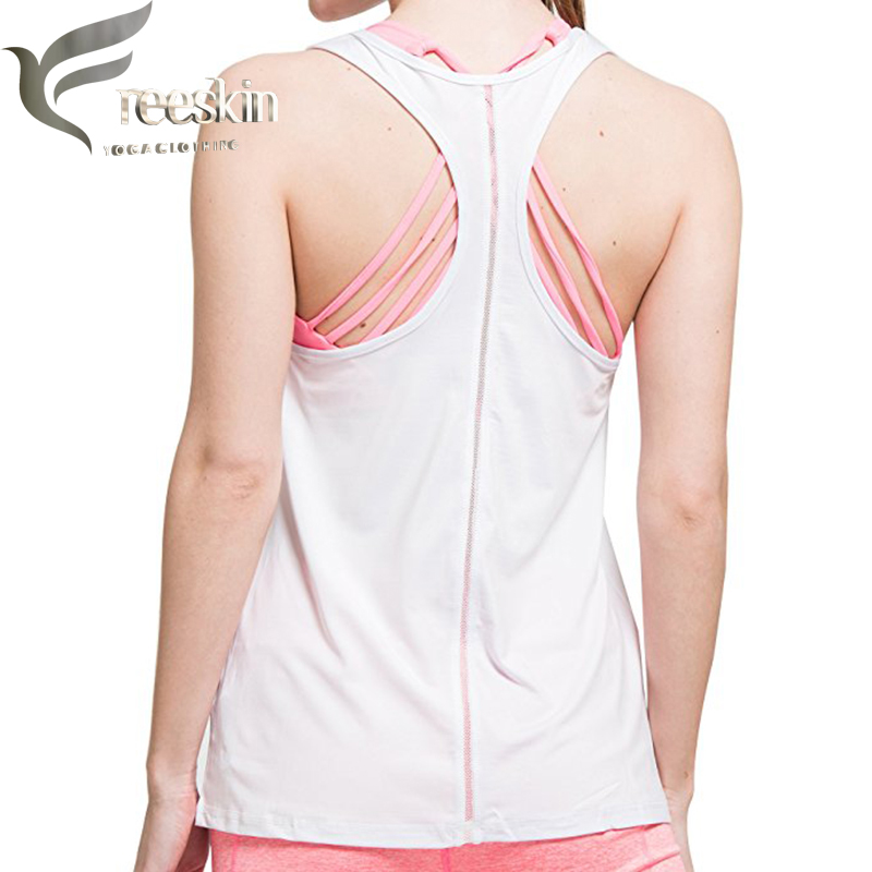 Freeskin Women Sport Tank Top Sexy Sport Shirt Dry Fit Women Fitness Sleeveless Vest Mesh Loose Tank Top Workout Gym Singlet lace contrast tank top