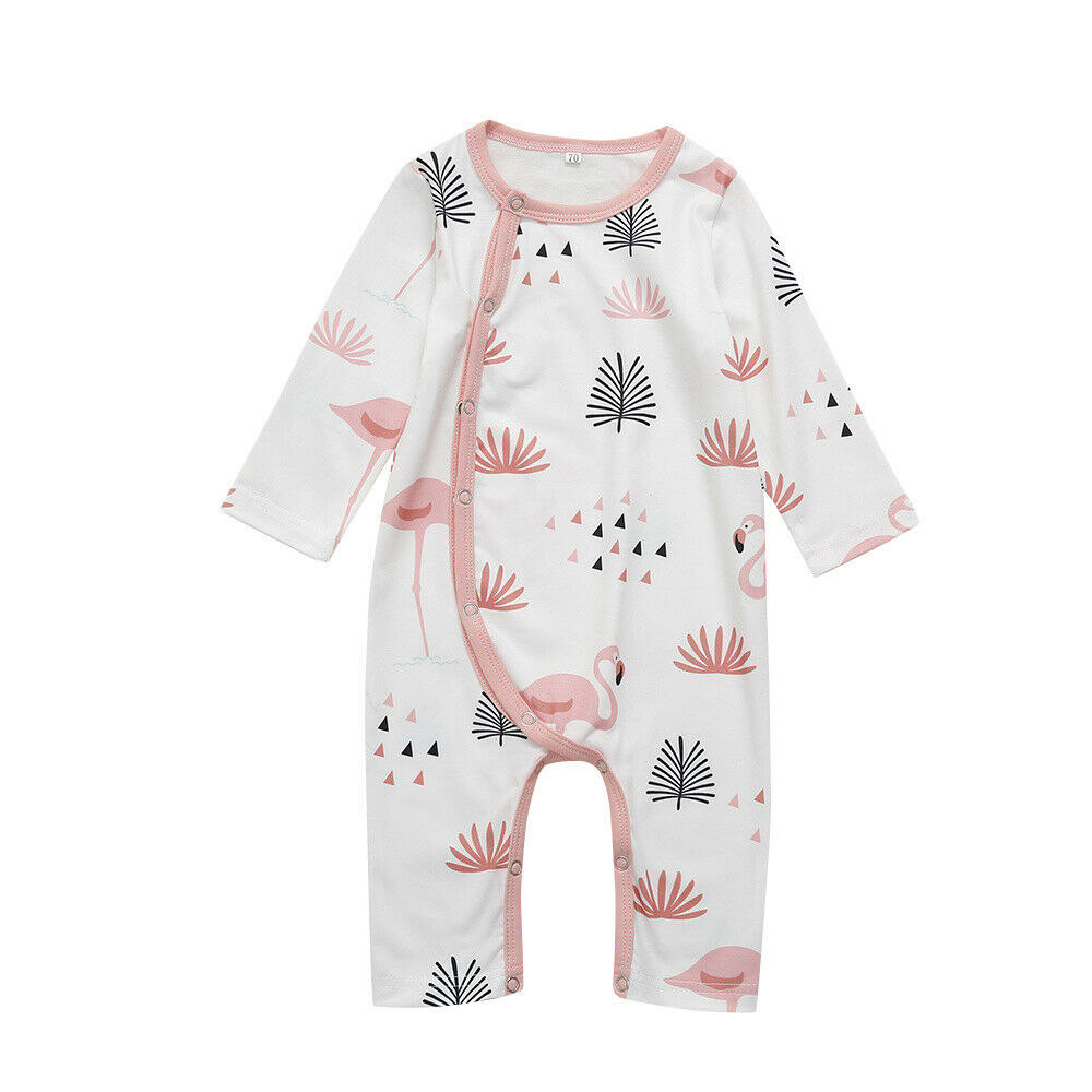 Newborn Baby Cotton Sleepwear Romper Toddler Infant Unisex Baby Kids Long Sleeve Cartoon Flamingo Pajamas Robes Night Clothes