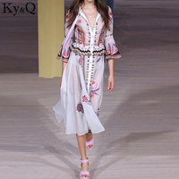 2019 Elegant Brand Women Runway Embroidery Mid Calf White Dress Half Butterfly Sleeve O Neck bowknot Female Long Dresses Clothes
