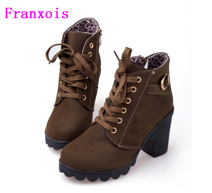 Franxois Hot Autumn winter velvet short boot thick heels wild black matte female shoes Miss Han Ban ol Martin boots Wholesale 2017 autumn and winter new plus velvet thick women s boots soft bottom comfortable breathable mother shoes wild leather