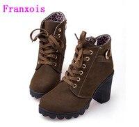 Franxois Hot Autunno inverno velluto breve avvio tacchi spessi selvaggio nero opaco scarpe femminili di Miss Han Ban ol Martin stivali commercio all'ingrosso