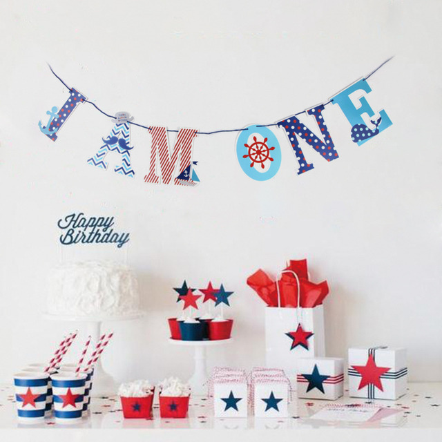 I AM ONE High Chair Banner Bunting Garland Nautical Theme Party 1st Birthday Baby Boy Photo Prop