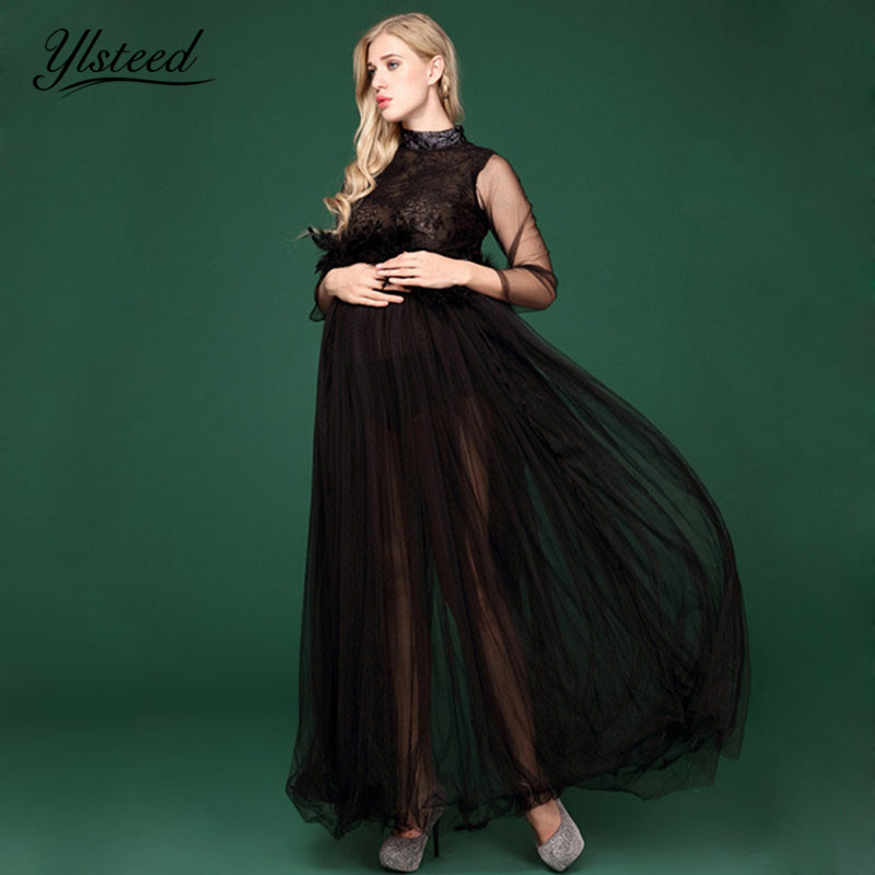 1f3dce480a53d Maternity Dress Black Maternity Photography Props Maternity Flower Lace Dress  Long Sleeve Voile Summer Pregnant Dresses