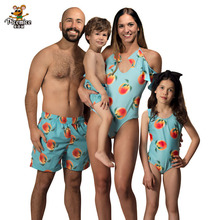 Family Look Swimwear Peach Print Swimsuit Mom Daughter Summer Swimming Suit Men Boys Shorts Matching Swimsuits