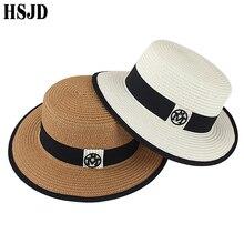 2019 New Summer Round Flat Top Boater Sun Hats for Women M Panama Straw Beach Hat Female Fedora Travel Sun Cap Chapeau Feminino