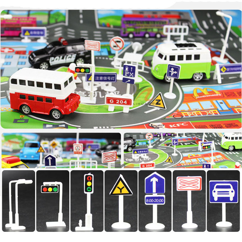 196 Pcs DIY Model Scene Car Toys Sign Road Sign Roadblock Traffic Sign IC Toy Accessories Gift for Kids(without car) zhiming 851548 iq car traffic jam challenges kids intelligence toys multicolored