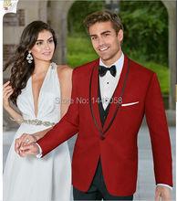 New Arrival Men's Suits 2016 Custom Made Red Men Groom Tuxedo One Button Men Wedding Suit Prom Tuxedos 4 Piece Bridegroom Suit