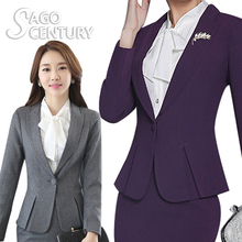 2017 Slim Women Female Long Sleeve formal Blazer Purple Office Lady Business Outwear Lotus Leaf Solid
