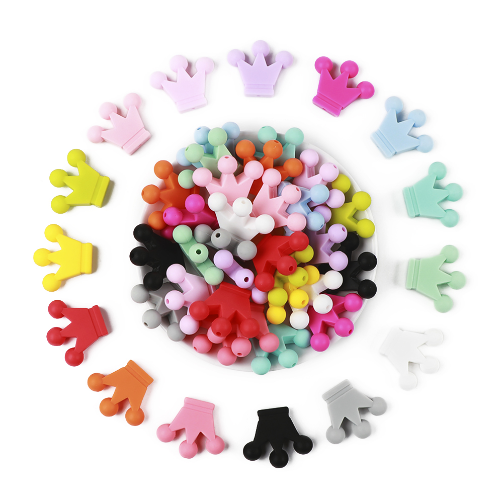 30pcs Crown Shape Silicone Teething Beads Multi Color Silicone Beads For DIY Silicone Baby Teething Necklace Toy