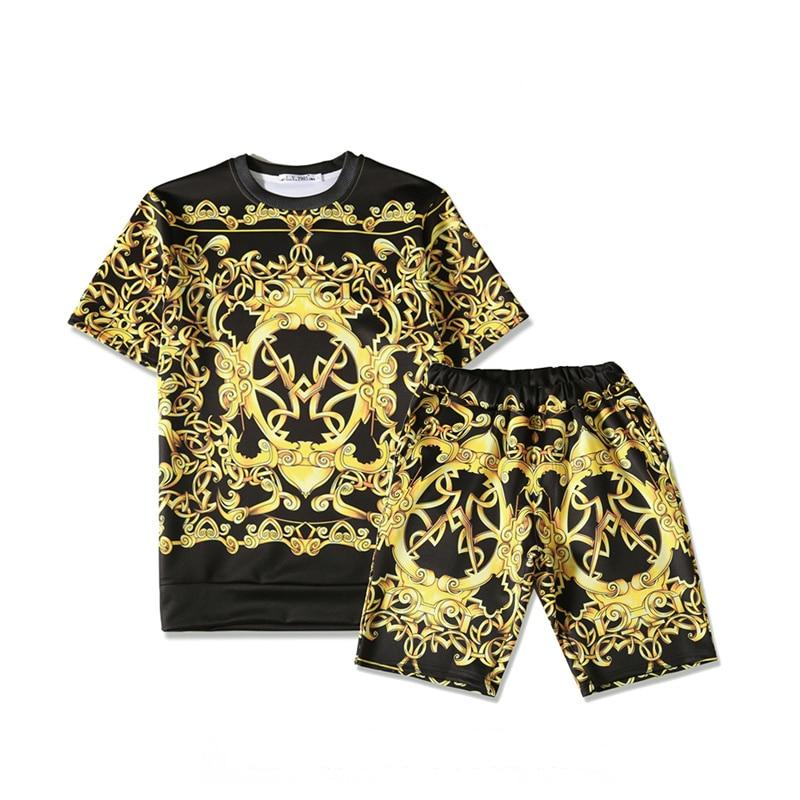 Medusa T shirts summer Harajuku Medusa gold chain 3d print tshirts Retro floral fashion Men Women cotton T shirt