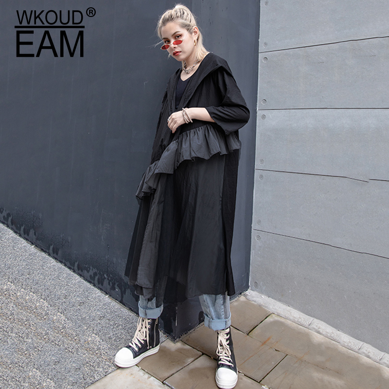 WKOUD EAM 2019 New Spring Summer Hooded Long Sleeve Black Ruffles Split Joint Big Size Windbreaker Women   Trench   Fashion JT18