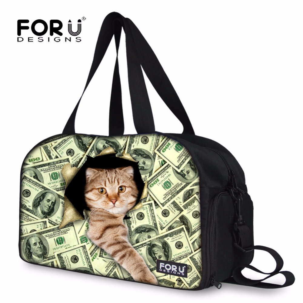 FORUDESIGNS Money Cat Prints Traveling Luggage Bags Cute Carry On Travel Bag Weekend Bags Duffle Overnight Tote Bolsa Feminina forudesigns red cute animal cat prints women large capacity tote bags fashion shoulder bags for ladies bolsa mujer cross body