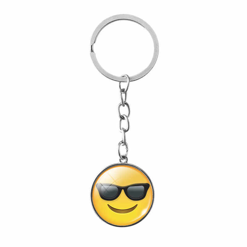New Stunning Classic Yellow Smiley Face Keychain Be Happy Emoticon Retro Pop Art Pendant in Black Link Prom Jewelry