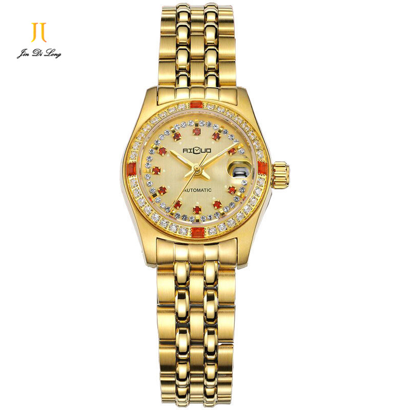 Brand Fashion Luxury Women s Dress Party Business Gold Watch Auto Mechanical Diamond Ladies Wristwatch 18K