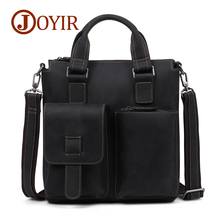 JOYIR Male Genuine Crazy Horse Leather Bag Men Briefcases Business Office 13Laptop Bags Crossbody Mens Messenger