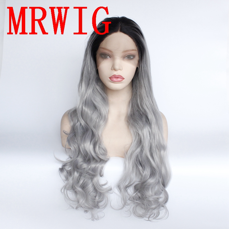 MRWIG Long Wavy Ombre Medium Grey Middle Part Synthetic Glueless Front Lace Wig Short Dark Roots