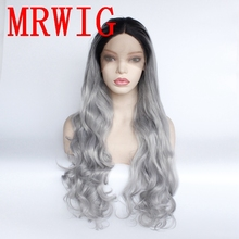 MRWIG Long Wavy Ombre Medium Grey Middle Part Synthetic Glueless Front Lace Wig Short Dark Roots цена 2017