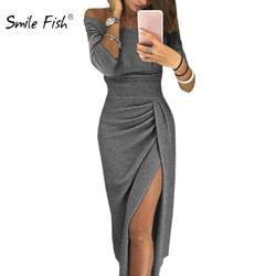 2018 зимние Для женщин высокое Разделение Slash сексуальное платье Элегантный обтягивающее Клубное платье осень с плеча вечерние Женское