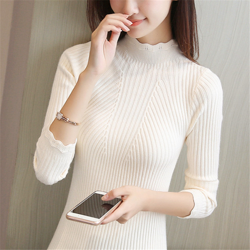 Knitting Women Sweaters And Pullovers Solid Color Turtleneck Slim Casual Ladies Knitted Sweater Winter New Chic