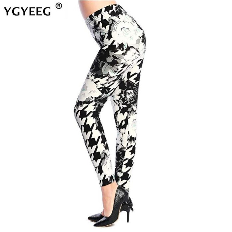 YGYEEG Leggings Hot Sell Women Skull&flower Black Leggings Digital Print Pants Trousers Stretch Pants Plus Size Printing Leggins