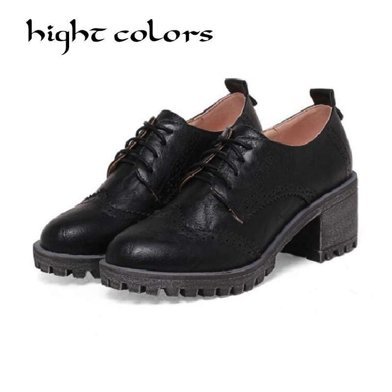 Oxfords Women Brogue Style Lace-Up Round Toe Ladies Flats Shoes Handmade High Quality Casual Oxford Shoes For Women Plus Size 43 autumn brogue shoes woman casual oxford flats shoes lace up moccasins plus size women ballet flats zapatos mujer british style