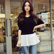 Original New 2017 Brand Knitted Pullover Batwing Sleeve Elegant Casual V Neck Black Sweater Women